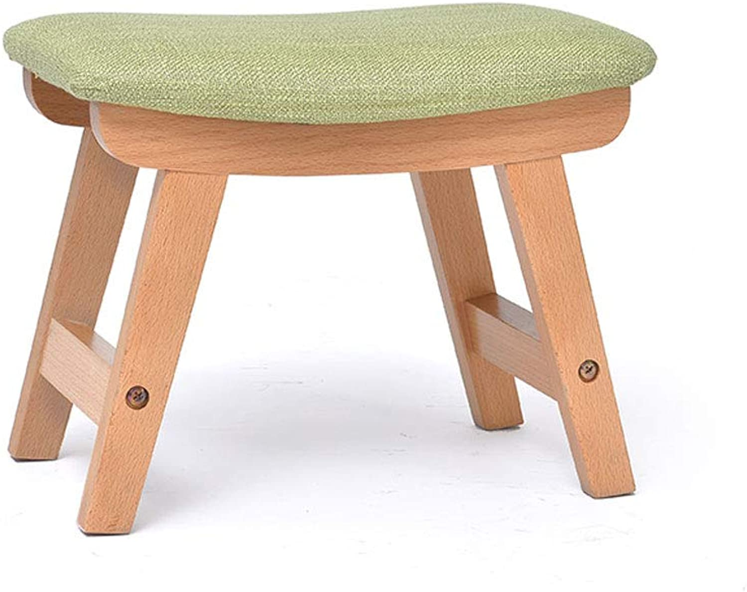 Wooden Stool, Four-Leg Sponge Soft Cushion Creative Cloth Washable Foot Stool Low Stool (color   Log color Matcha)