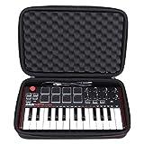 LTGEM Travel Hard Carrying Case for Akai Professional MPK Mini MKII & MPK Mini Play | 25-Key Ultra-Portable USB MIDI Drum Pad & Keyboard Controller (black)