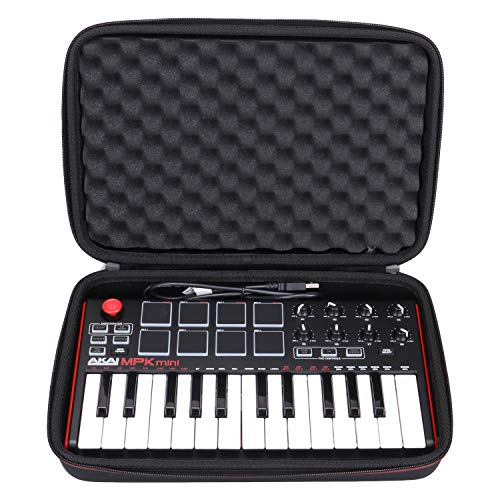 LTGEM Travel Hard Carrying Case for Akai Professional MPK Mini MKII & MPK Mini Play | 25-Key Ultra-Portable USB MIDI Drum Pad & Keyboard Controller (black)
