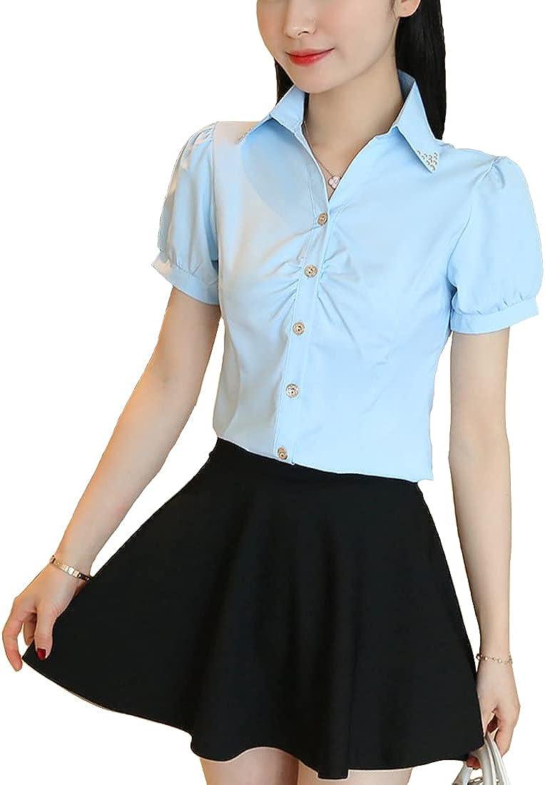 BAOBAOYU Women's Short and Long Sleeve Blouse Button-Down Collar Shirts Korean Fashion Tops