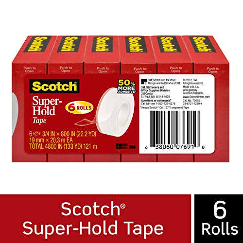 Scotch Super-Hold Tape, Strong and Durable, Glossy Finish, Engineered for Sealing, 3/4 x 800 Inches, Boxed, 6 Rolls (700S6)