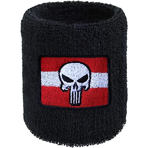 EXPRESS-STICKEREI Muñequera de Austria Punisher para deporte, con bandera y calavera para motoristas, rockeros y amantes de metal pesado, regalo para hombre, pulsera de deportes extremos, de rizo