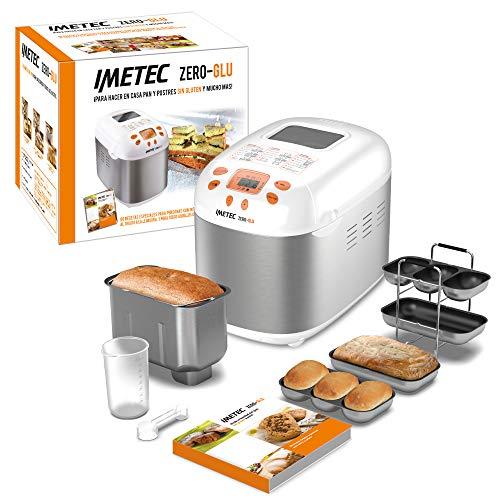 Imetec Zero-Glu Panificadora, 20 Programas Pan y Dulces, sin Gluten, Accesorios para 3 Formas diferentes de Pan, Temporizador Digital, Libro de Cocina, Capacidad 1 kg, Amasa, Fermenta y Hornea, 920W