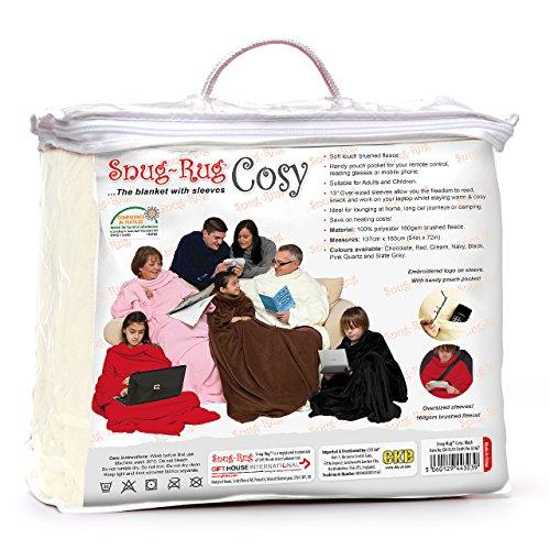 Snug Rug Cosy Tappeto aderente accogliente, coperta in pile con maniche e un pratico tasca-crema Beige cream