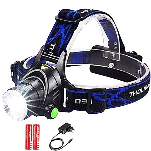 Linterna Frontal Faro luminoso súper brillante LED 18650 USB Linterna impermeable IPX4 recargable USB con luz de funcionamiento de la cabeza de zoom, luz de casco para acampar, senderismo, al aire lib