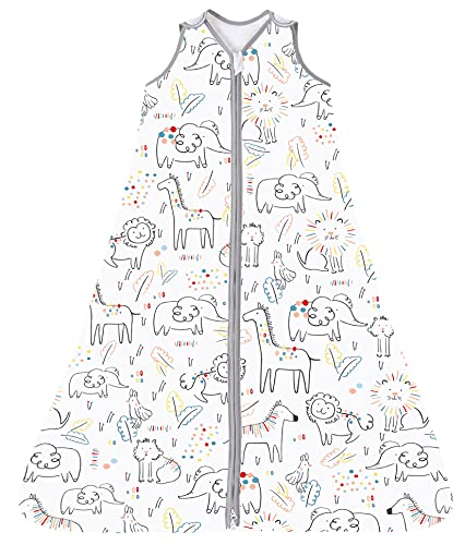 Chilsuessy Saco de dormir para bebé, 2,5 tog, saco de dormir de invierno para bebé, de algodón puro, sin mangas, 70 – 130 cm, para recién nacidos y niños, Happy Zoo, 90 cm, altura del bebé 85 – 95 cm