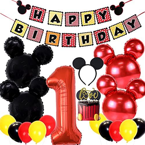 Los suministros fiesta cumpleaños Mickey Mouse incluyen pancarta, 1 globos aluminio y diademas las orejas, adorno tarta, decoraciones primer cumpleaños bebé