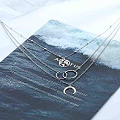Edary Boho Layered Necklace Moon Necklaces Map Pendant Silver Chain Jewelry for Women and Girls #2