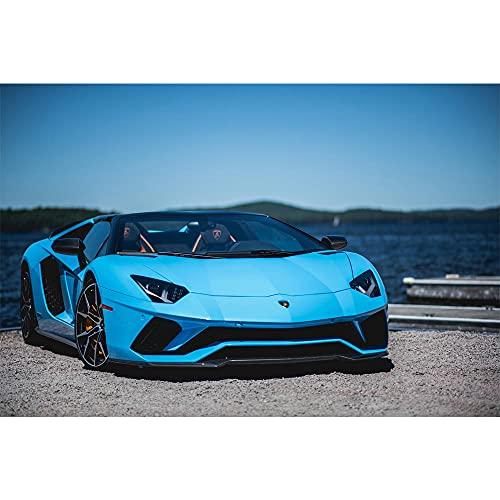 zuomo Supercar Blue Aventador S Seascape Sportscar Vehículo Carteles e Impresiones Arte de la Pared Pinturas en Lienzo para la decoración de la Sala de Estar Sin Marco 50x70cm