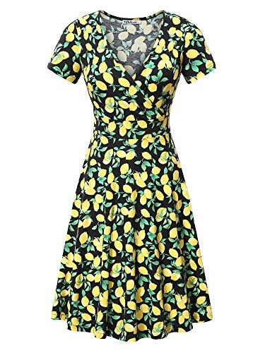 MSBASIC Women's Deep V Neck Short Sleeve Unique Cross Wrap Casual Flared Midi Dress (XX-Large, Floral-3)
