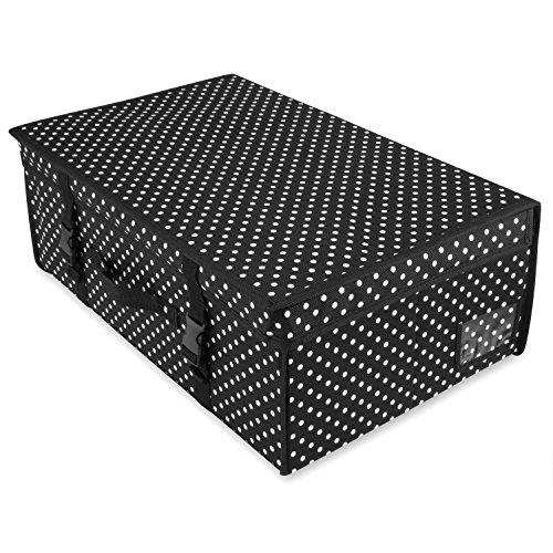 HANGERWORLD Mittelgroße Aufbewahrungsbox Schwarz Polka Dot Unterbettkommode Aufbewahrungstasche