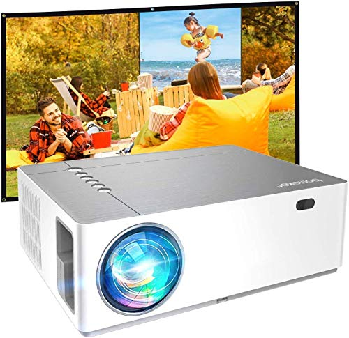 Proiettore 7200 Lumen Nativo Full HD 1080p, ± 50° Correzione Trapezoidale Zoom, BOMAKER 300''Display Supporta 4K/Dolby/2 USB/2 HDMI/SD/AV/VGA Per Office Work e Film all'Aperto, Parrot Ⅰ