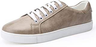 Ping.Feng Shoes Men's Casual Fashion Sneakers Lace Up Style Microfiber Leather Athletic Sport Skate Shoes Gym Sneakers (Color : Khaki, Size : 48 EU)