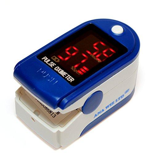 Oxímetro de pulso con pantalla LED (Incluye Carrycase, pilas y cinta) ⭐