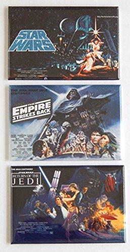 Star Wars Trilogy Movie Poster Fridge Magnet Set (2.5 x 3.5 inches each) hs