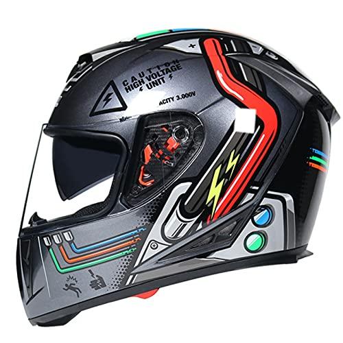 Casco de motocicleta de cara completa, doble parasol aerodinámica, cómodo casco de motocicleta, adecuado para ciclomotor, scooter, adulto, unisex, aprobado por DOT/ECE A, M54-55 cm