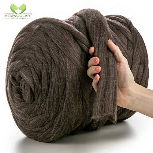 MeriWoolArt 100% merinowol voor breien en haken met 4-5 cm dik garen | dikke merinowol voor XXL sjaal, deken & kussens 4,5Kg Rolle Flügel aus Bronze Melange