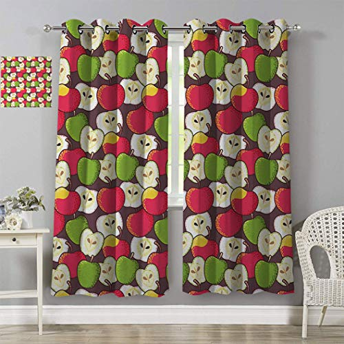 RityoDecor Apple Curtain Panels, Abstract Red and Green Varieties of Winter Fruits Juicy Vitamin Sources Fresh Food Grommet Curtain for Living Room, 2Pcs Each 36' W x 63' L Multicolor