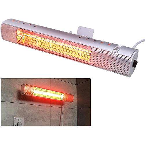 1500W Infrared Patio Heater Wall-Mounted Electric Heater Weatherproof...