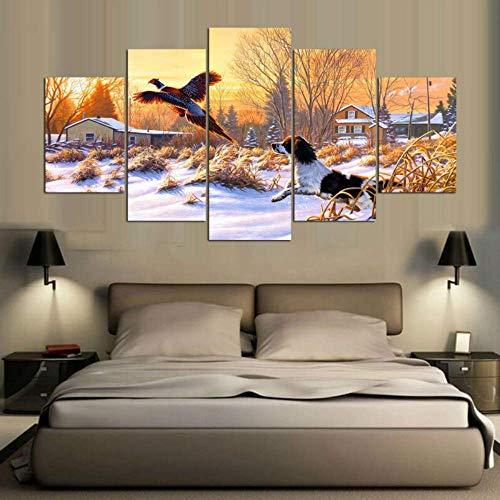 SLSMD-ART fotobehang 5 stuks canvasdruk schattige puppy muurkunst woonkamer slaapkamer decoratie, 100x55cm Eén maat 20 x 35 cm x 2 20 x 45 cm x 2 20 x 55 cm x 1