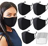 Black Face Mask - Cotton Cloth Reusable, Washable,...