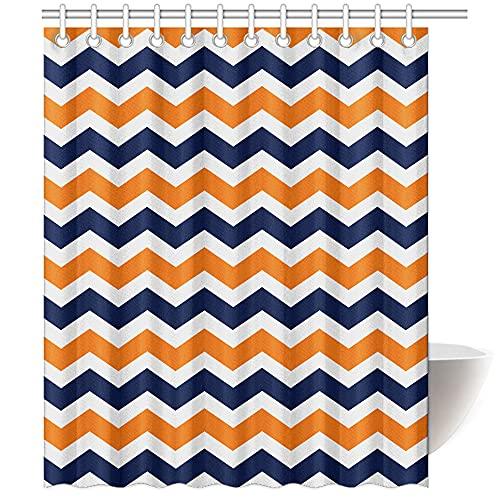 Navy Deep Blue Orange Chevron- Bathroom Shower Curtain