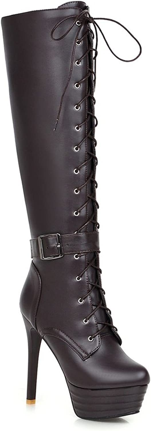 Lucksender Womens Round Toe Platform High Stiletto Heels Lace Up Riding Tall Boots