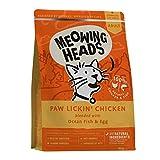 Meowing Heads Comida Seca para Gatos - Paw Lickin' Chicken - 100% Natural, Pollo y pescado sin aromas artificiales, Ayuda a mejorar la digestión, 4 kg