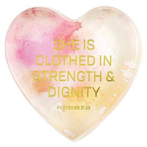CB Gift Heartfelt Heart-Shaped Glass Watercolor Paperweight with Scripture, Strength & Dignity -Proverbs 31:25