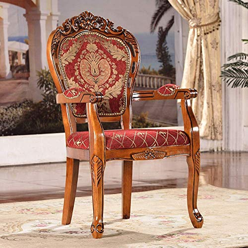 KEKEYANG Wood Dining Chairs Chair Cloth Carved Solid Wood Dining Chair for Coffee Hotel 2 Pieces for Kitchen Dining Room (Color : Brown, Size : 52x50x106cm) Dining Chairs