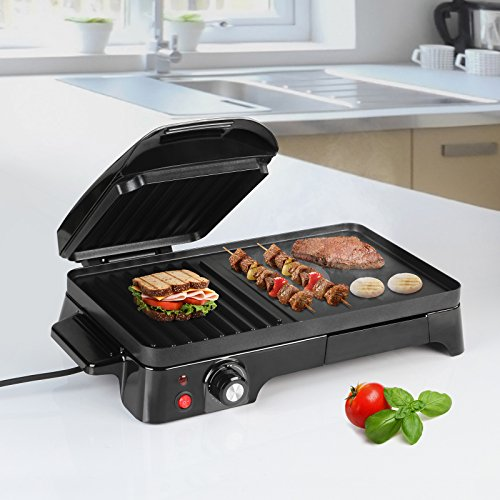 Panini Maker - Potenza 2200 W, Antiaderente, Nero - Tostiera, Pressa a Sandwich, Sandwich Maker, Toast & Grill, Bistecchiera Elettrica