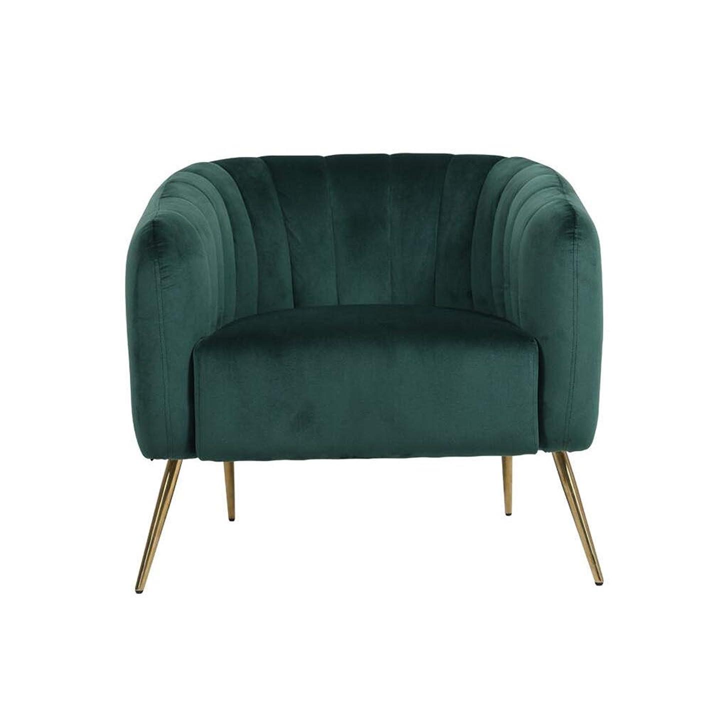 YQQ-怠惰なソファ 現代のベルベット随時アームチェア浴槽椅子ラウンジチェア用リビングルーム寝室レセプション用固体金属脚 (Color : Green)