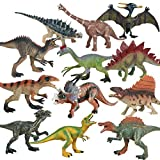 Flormoon Animal Figures 12 pcs Realistic Plastic Dinosaur Toy Set Includes Tyrannosaurus Rex, Suchomimus etc. Science Project, Learning Educational Toys, Birthday Gift, Cake Topper for Kids Toddlers