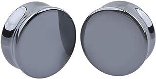 Fenical Túnel dilatador para oreja, piercing de piedra, color negro, 25 mm, 1 par