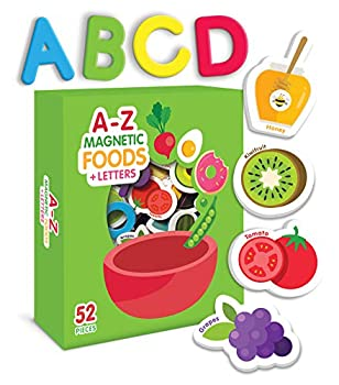 Curious Columbus Magnetic Foods and Letters for Kids Set of 52 pcs Includes 26 Foam Picture Magnets and 26 A-Z Alphabet Letters for Letter Recognition Learning Words and Healthy Eating