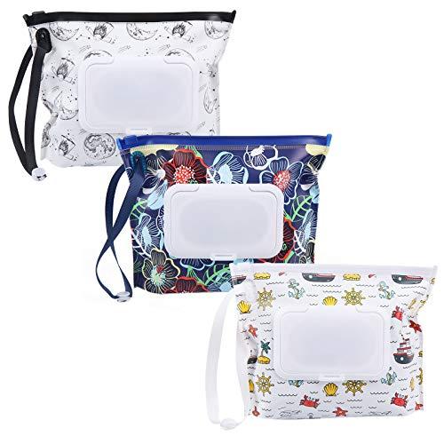 FADACAI 3 unidades reutilizables Wet Wipe Pounch Viaje Contenedor para toallitas húmedas de bebé, bolsa de toallitas húmedas portátil recargable, dispensador de toallitas húmedas para bebés