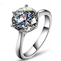 TenFit Jewelry is a US registered trademark and Tenfit is the only owner for this brand.we produce fashion styles and good quality jewelry always. Matrial:925 Sterling silver ,Simulated Diamond ring size:4.5/5/6/7/8/9/ Packing with gift box as a gift...