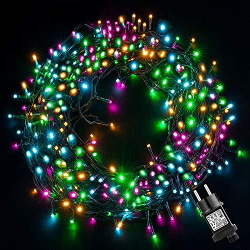 Luci Albero di Natale 20M 200LEDs,GlobaLink Luci Natalizie da Esterno IP44 Impermeabile,Catena Luminosa 8 Modalità Luce,Funzione Memoria Decorazioni Natalizie Matrimonio Casa Giardino Feste-4 Colori