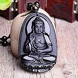 RANJN Piedra NaturalTallada Buda Lucky Amuleto Colgante Collar Joyas para Mujeres HombresColgantes de Cadena, G