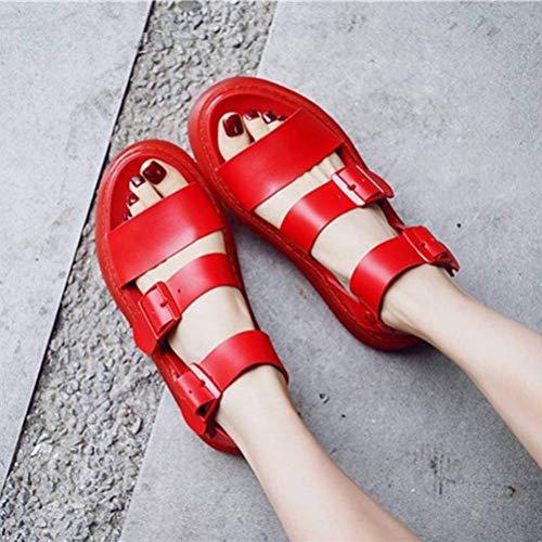 Women Sandals Summer Martin Sandales Femme Boucle Romaine Bout Ouvert Chaussures de Plage Sandales en Cuir Sauvage Couples Épais Hommes Et Femmes, Red, 37