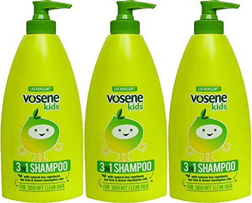 THREE PACKS of Vosene Kids 3 in 1 Conditioning Shampoo Head Lice Repellent...