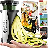 4. Zucchini Spaghetti Maker Complete Bundle - Best Spiraler Spiralizer with Peeler & Brush - Noddle Zoodler to Spiral Julienne & Fettuccine Pasta Hand Slicer - Low Carb/Keto/Paleo/Gluten Free CookBook