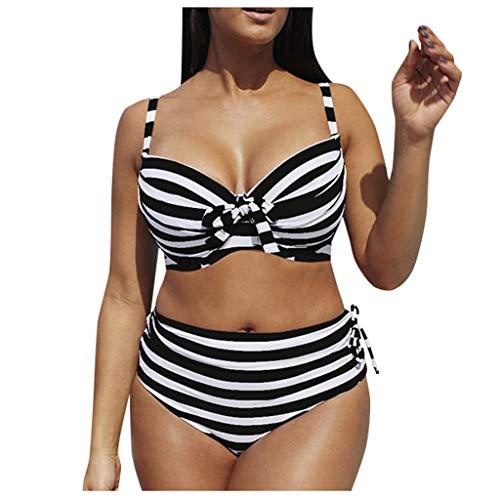Fenverk Bikini Tankini Bademode Badeanzug Monokini Retro Groß Größe Sets Plus Size Bandeau High Waist Bikini Damen Bauchweg,Halter Rüschen Hoher Taille Zweiteilige Strandkleidung(B Schwarz,XXXL)