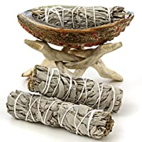 Premium Bundle with Abalone Shell, Wooden Tripod Stand, and 3 California White Sage Smudge Sticks for Incense Burning, Home Fragrance, Energy Clearing, Yoga, Meditation