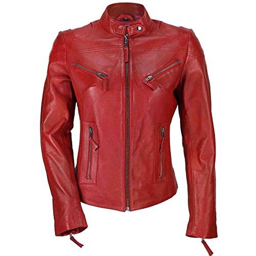 Cazadora vintage de estilo motero para mujer, piel auténtica de color marrón. Tallas de la S a la 5XL Rojo rosso XL