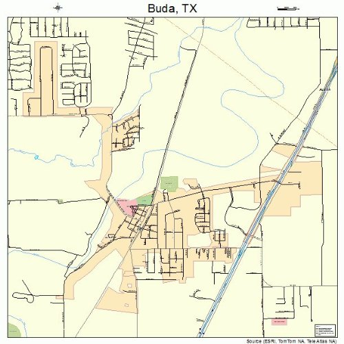 Large Street & Road Map of Buda, Texas TX - Printed poster size wall atlas of your home town