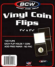 100 Pcs. 1-7/8 x 1-7/8 Vinyl Coin Flips, Coin Holders by BCW