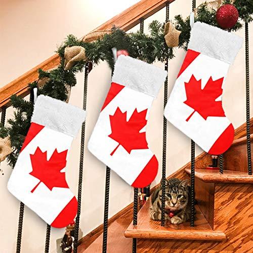 Kanada-Flagge, Ahornblätter, Weihnachtssocken, Geschenktüten, für Kinder, Plüsch-Manschette, zum Aufhängen, für Familie, Urlaub, Weihnachten, Party, Dekoration, 45 cm, 1 Stück, Samt, multi, 1 Stück