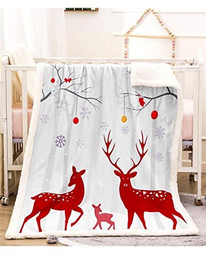 GJX Koc wełniany Blanket Sherpa koc polarowy Fuzzy dwustronny ultra miękki plusz mikrofibra Boże Narodzenie Deer Printed koc na kanapę kanapę Bedding Accessories (kolor: A, rozmiar: 100 * 140 cm)