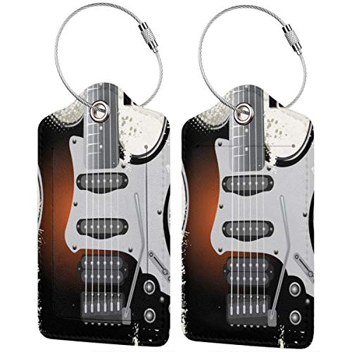 ZOANEN Etiquetas para Equipaje,Rock Music Retro Grunge Guitarra Imprimir,2 Piezas Etiquetas de Equipaje de Viaje Etiquetas de Identificación de la Maleta para Maletas,Mochila